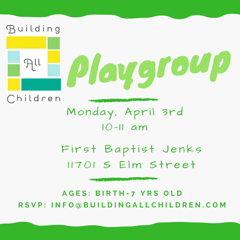 Playgroup april 3rd
